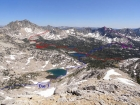 View from Glens Peak of Flytrip Basin. Snowyside on the left, Peak 9963' on the right.