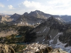 View from the summit of Peak 9963' of Snowyside Peak, Flytrip Lakes below.