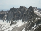 Looking back on Mount Iowa and Fishhook Spire from the south face of Horstmann.
