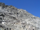 Close-up shot of the very steep east face of Big Basin Peak.