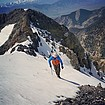 Short snow climb after the crux section. SeanD photo.