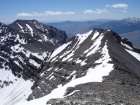 Looking back towards the false summit and the 11400' saddle to the left. Lost River Peak is in the background.