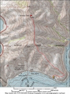 Map of our route, 4.5 miles round trip with 1900' elevation gain.