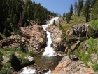 The impressive water fall on Minaret Creek from the trail.