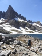Nearing Cecile Lake, with Clyde Minaret towering in the background.