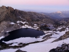 Dusk view of Cecile Lake and Minaret Lake from just above the snowfield.
