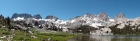 Panoramic view of The Minarets, Mount Ritter, and Banner Peak from Ediza Lake.