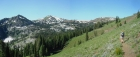 Wide angle shot of the trail, Council Mountain, and Granite Basin.