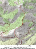 Map of the route, 3.5 miles with 1400' elevation gain round trip.