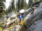 Navigating a rocky section south of Alpine Mountain.