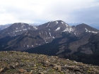 To the south of Yellow Peak, you can see Flatiron Mountain (11019') and Big Creek Peak (11350').