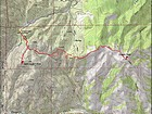 Map of my route, 8 miles and 1900' gain round trip.
