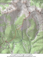 Overview map of the route, 6 miles round trip and 2700' gain. Ascent in red, descent in blue.