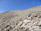 Descending through the boulder field.