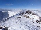 Leaving the summit of Grays Peak, Mount Edwards on the left.