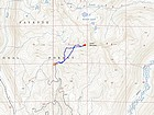 Map of our route, about 2.5 miles and 1300' elevation gain round trip.