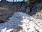 Climbing a snowfield, in August!