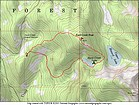 Map of the route, 4 miles and 1100' elevation gain round trip, including the peak.