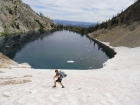 July snowfield on the south side of the upper lake.