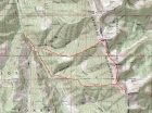 Map of our route, 8 miles round trip with 5000' elevation gain.