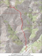 Overview map of the south ridge route, just under 8 miles round trip and 3500' of elevation gain.