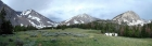 Pano taken in the upper Pahsimeroi Valley, including Leatherman Peak, Leatherman Pass, and Whitecap Peak.