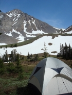 A view of Leatherman Peak from our campsite, located near the trail to Pass Lake at about 9500'.