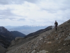 Sean on the trail to Leatherman Pass with the White Knob Mountains in the background.