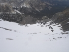 Looking down the north gully of Leatherman into the Pahsimeroi Valley. Sean is one of the specs on the snow far below.