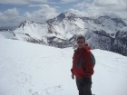 Me on the summit of Little Sister, Diamond Peak in the background.