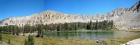 Panorama from Born Lakes, Lonesome Peak in the back right.