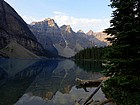 Start of the hike, amazing view of Moraine Lake backed by Valley of Ten Peaks.