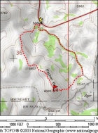 Map of the route, I went clockwise. 2.5 miles with 1000' elevation gain round trip.