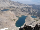 A view of Betty, Goat, and Baptie Lakes from the summit of Peak 11887'.