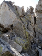 This is the crux of the climb to Peak 11887's summit, a 20' notch to climb through.