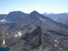 Standhope Peak from the summit of Altair Peak. Peak 11887' is to the left and Hyndman Peak is to the right.