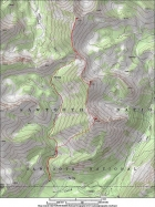 Map of the route, about 9 miles round trip with 3800' of elevation gain.