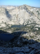 Everly Lake, Plummer Lake, and Plummer Peak from high on the east face of Mount Everly.