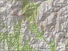 Map of my route, just over 13 miles and 3600' gain round trip.