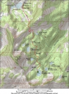 Map showing our route, 3 miles from the trailhead to Big Rainbow Lake.