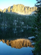 Reflection of alpenglow on Rainbow Ridge.