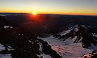 Sunrise view from the top of Disappointment Cleaver, with the Emmons Glacier far below.