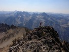 Leaving the summit of Baron Peak, Warbonnet in the background, Rakers in the distance.