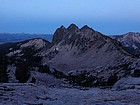 Low light view of Huckleberry Peak from our campsite at