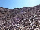 Huge talus field to descend from the saddle.