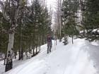 Trying to follow the snow covered trail.