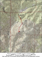 Map of the route, just over 2 miles and 450' elevation gain round trip.