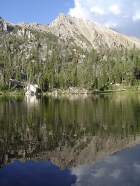 This is White Cloud Peak 11202' reflecting in Hourglass Lake.