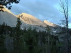 The beginnings of a beautiful sunset on WCP-9 and David O Lee Peak from Ocalkens Lake.