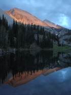 Alpenglow reflections at Ocalkens Lake.